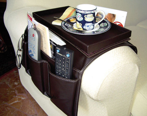 Sofa organizer table with pockets
