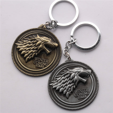 Game Of Thrones Key Chains set of Silver and Gold 2 PCS
