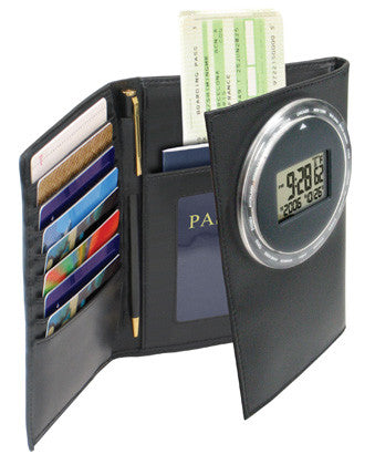 Travel World Alarm Clock with Passport Holder