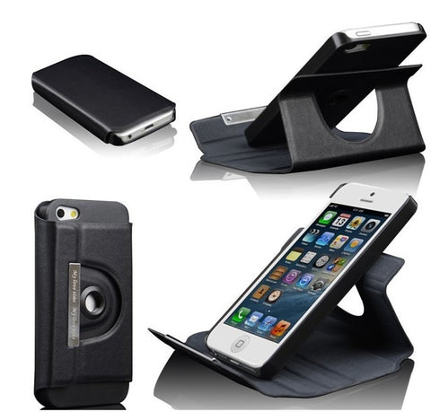 360 degrees rotating leather case for iPhone 5