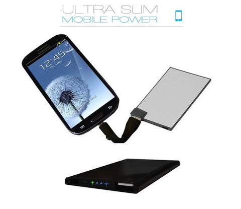 Credit card sized USB Power Bank for recharging smart phone