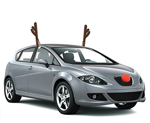 Reindeer Antlers and Rudolph Nose Holiday Car Costume (3-Piece)