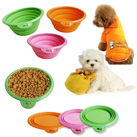 Travel Collapsable Pet Silicone bowl plate for cats and dogs