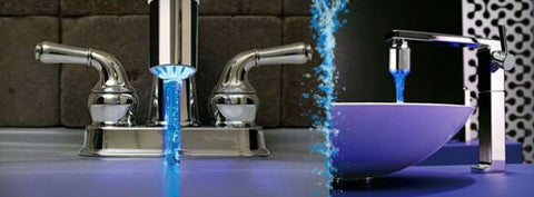 Color Changing LED Waterfall Widespread Bathroom or Kitchen Sink Tap