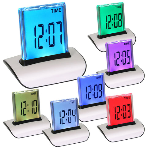 7 Color Digital LED Desk Alarm Clock Night Light Calendar Thermometer