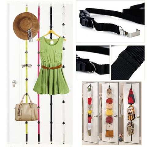 Over Door 8 Hooks Adjustable Straps Hanger Hat Bag Clothes Rack Holder Organizer