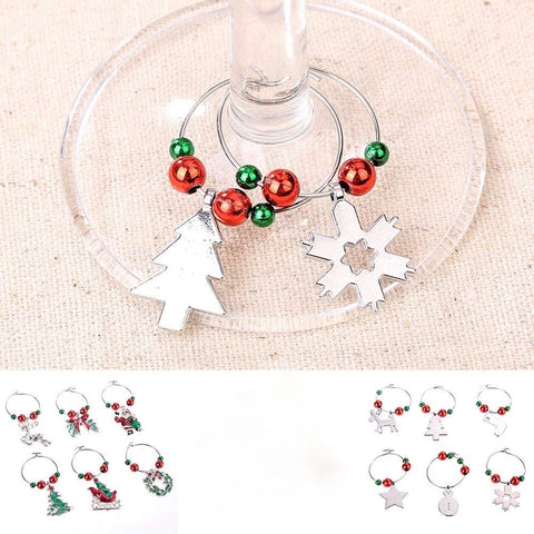 6Pcs/Set Wine Glass Pendants Christmas Party New Year Ring Decor