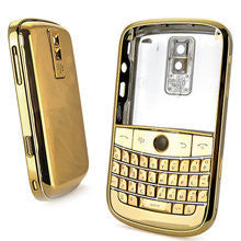 Replacement shell for use with Blackberry Bold 9000 chrome housing cover faceplate set full gold and silver with tools
