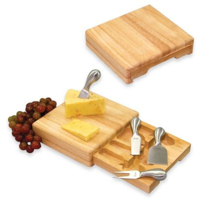 Bamboo cheese slicer knife cutting board drawer box
