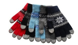Sensitive Knit Winter Touch Gloves For Touch Screens Snowflake Design