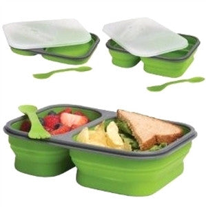 Collapsible lunch box with single or double compartment