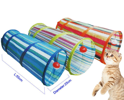 Cat Dog Pet Folding Tunnel With Ring Bell Play Toy Collapsible