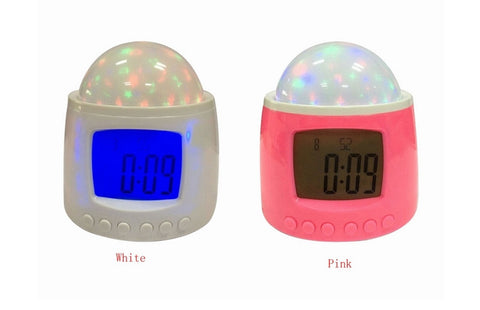 Starlight projection Music digital glowing alarm clock starry sky