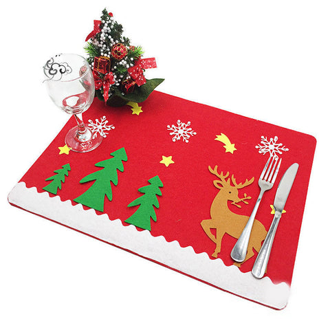 Christmas Decoration Dinner Placemat Tableware Mat For Home 2 Pieces