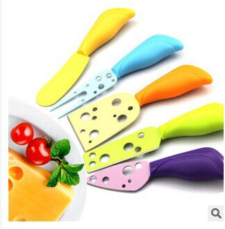 5 Set stainless steel Cheese Knives set with colorful handle