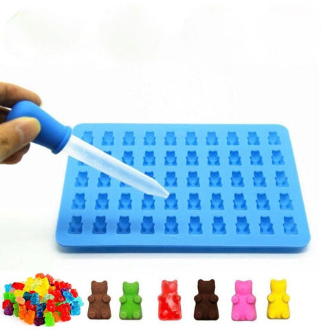 Silicone Gummy Bear Chocolate Mold Candy Maker Ice Tray Jelly Moulds