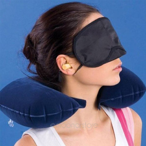 3pcs set of Travel Kit Inflatable U shape Neck Pillow+eye mask+Ear Plugs