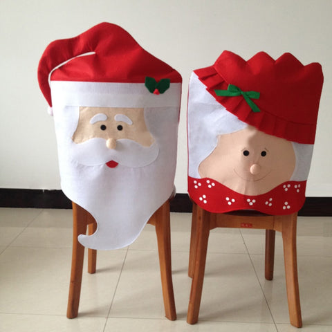 Set Of 2pcs Santa Red Hat Chair Covers Christmas Decorations