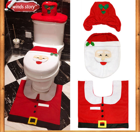 Christmas Red Santa Claus Toilet Seat Cover and Rug Bathroom Set