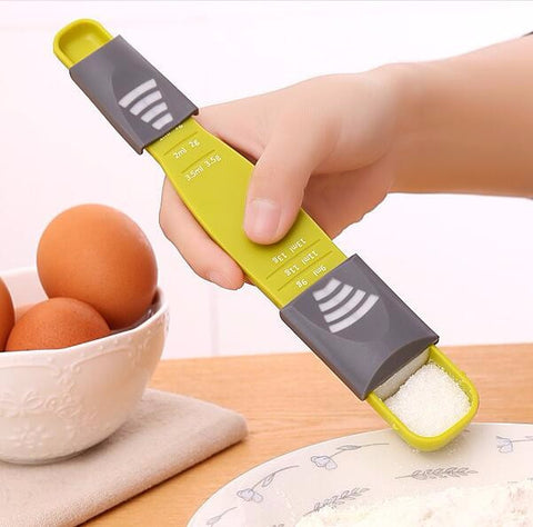 Double End Eight Stalls Adjustable Scale Measuring Spoon