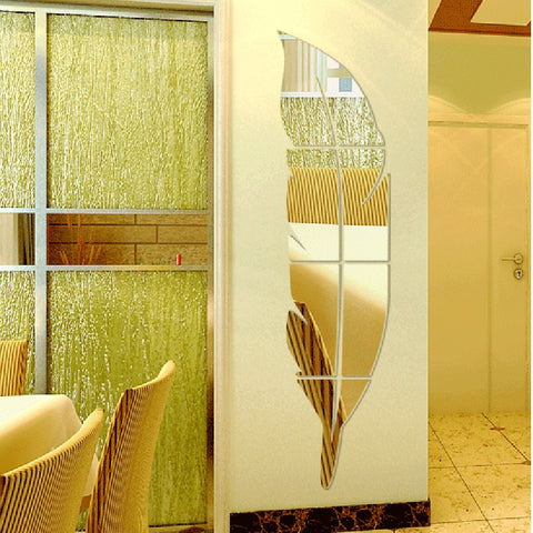 Feather Painting Decorative Acrylic Mirror Wall Stickers