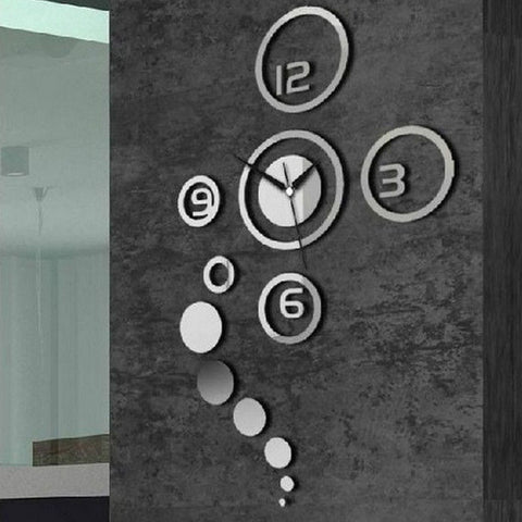 DIY 3D Home Modern Decoration Crystal Mirror Wall Clock