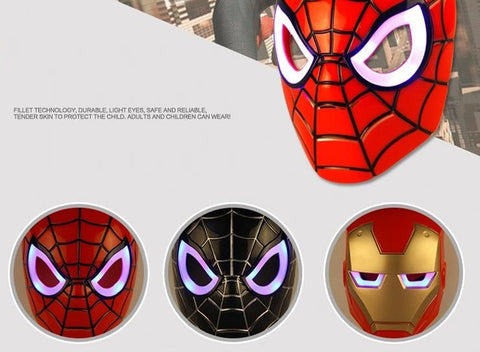 Children's Luminous Glowing Spider Iron Man Full Face Mask