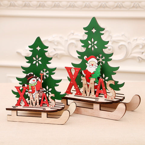 Wooden Christmas Snowsledge Decorations set of 3 Small or Large