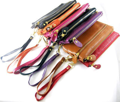 Real Leather Carry Wallet Pouch Purse Clutch with Hand strap in 7 colors