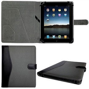 Genuine Leather Case / Cover for Apple iPad (Black & Grey)