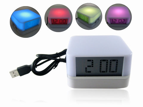 4 Port USB 2.0 Hub with Clock & Colour Changing Mood Light