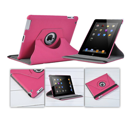 Leather look 360 Degree Rotating Case Cover for Apple New iPad 3 & 2