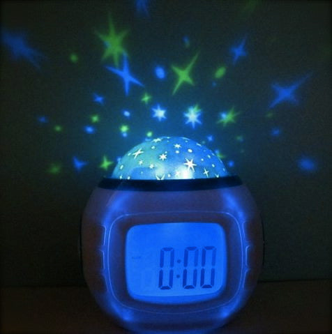 Starlight projection colourful LED glowing alarm clock starry sky