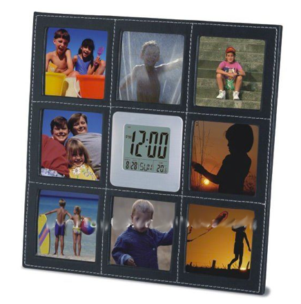 Folding Leather Table Clock Photo Frame