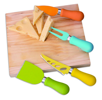 Cheese knife set stainless steel + rubber handle
