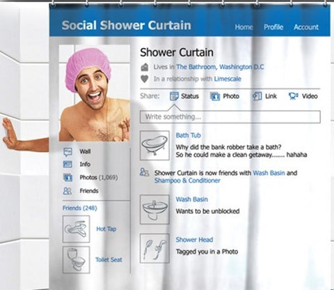 Social network design shower curtain