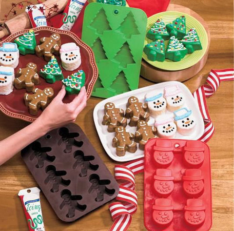 Silicone Christmas Baking Pans for Cupcakes, Muffins, Gelatins and Treats