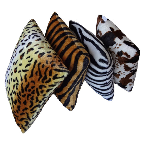 2 or 4 x Animal Pattern Faux Fur Decorative Square Throw Pillow Cover Cushion Case