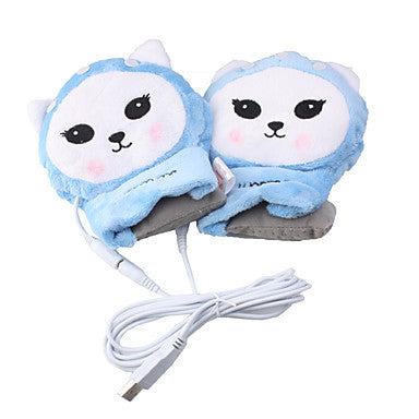 USB lovely cartoon characters warming gloves