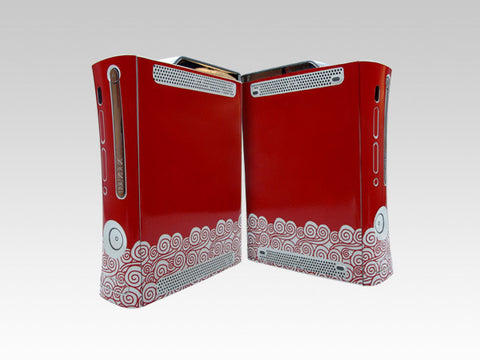 Xbox 360 Skins Decals-Xbox 360 Red Clouds skin decals with sticker application kit