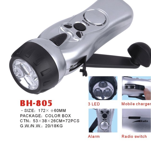 Personal Safety Alarm USB Flashlight Radio