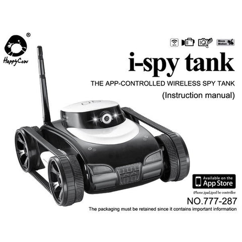 Wireless WiFi i-Spy Tank Video Camera Vehicle App Controlled