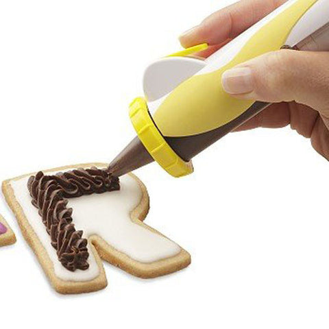 Electric DIY Creamy Buttercream Frosting Decoration Pen for Cakes and Cookies with replaceable Tips, Filter Plates and Color Mixer