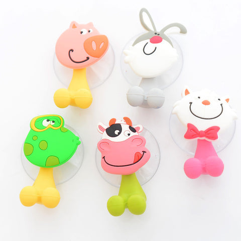 5 x Fun animal design toothbrush holders for kids