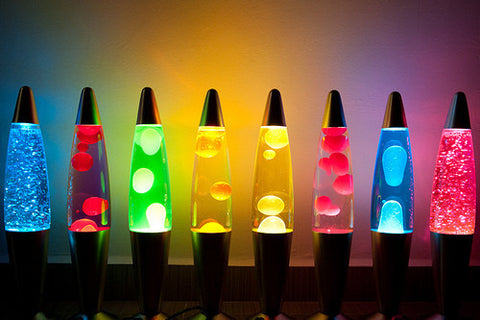 Lava lamp with colour liquid