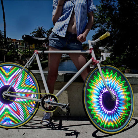 LED Bike Bicycle Wheel Light with 16 Double-sided laterns, 32 Patterns and Motion Activated Functions