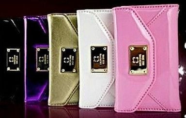 Luxorious glittery leather wallet case with strap for Iphone 4