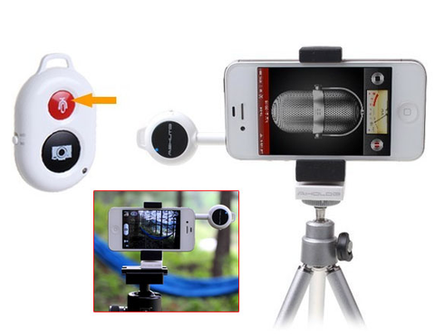 Wireless Remote Control Photograph Recording Accessory for iPhone 5 iPad iPod