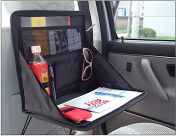 Car backseat organizer board with folding table