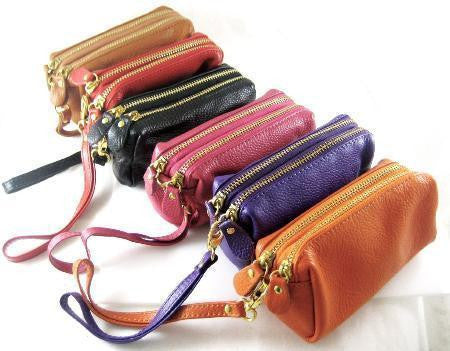 Real Leather Pouch Make up bag with strap in 6 colors Cosmetic Purse